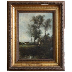 19th Century Oil on Card Signed Corot