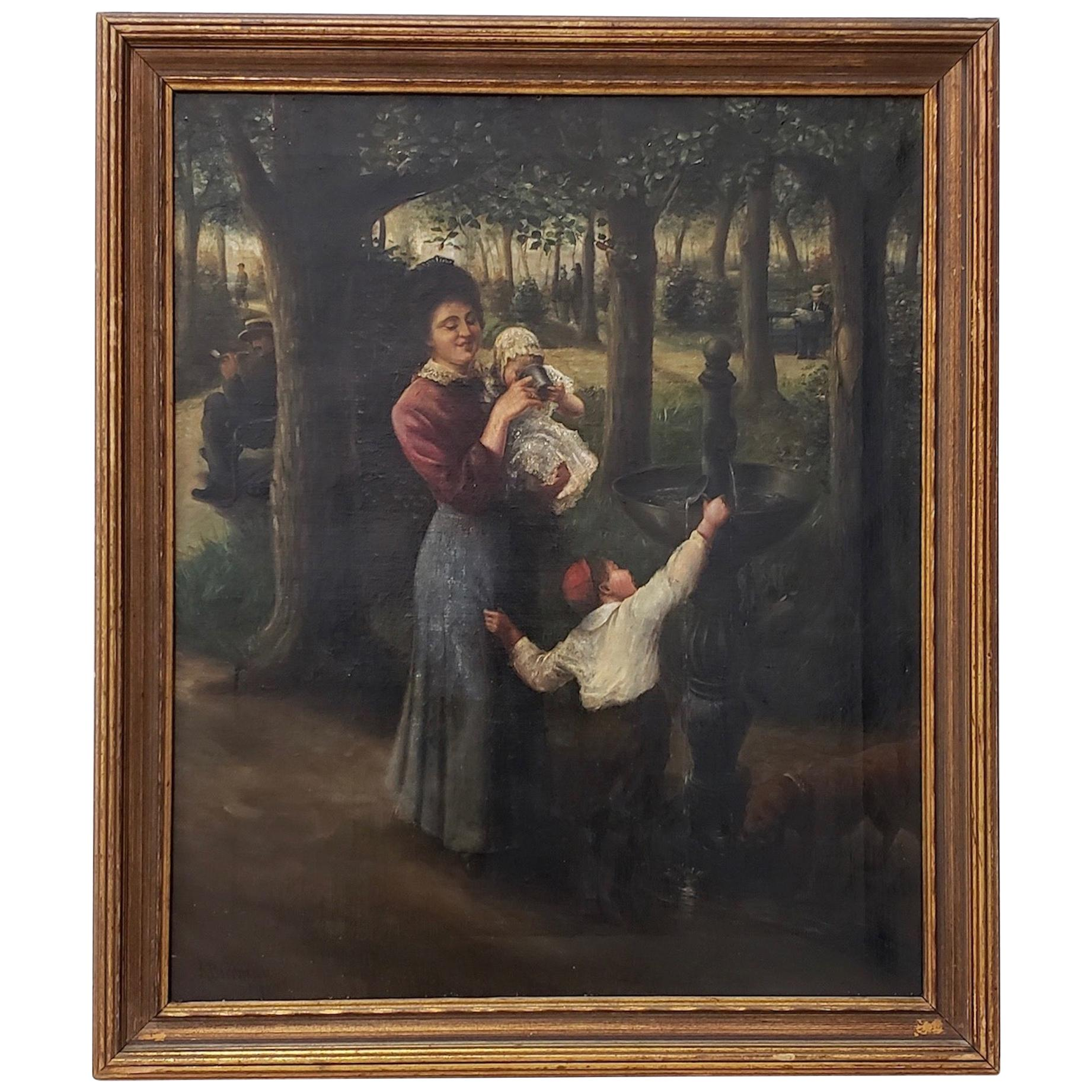 19th Century Oil Painting of a Young Family in a Park