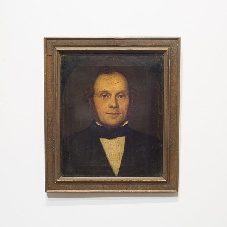 About  This is an original unsigned 19th century oil portrait of a gentleman. The frame is early 20th century. This piece has retained its original finish.  Creator: Unknown. Date of manufacture: circa 1800s. Materials and techniques: Oil on