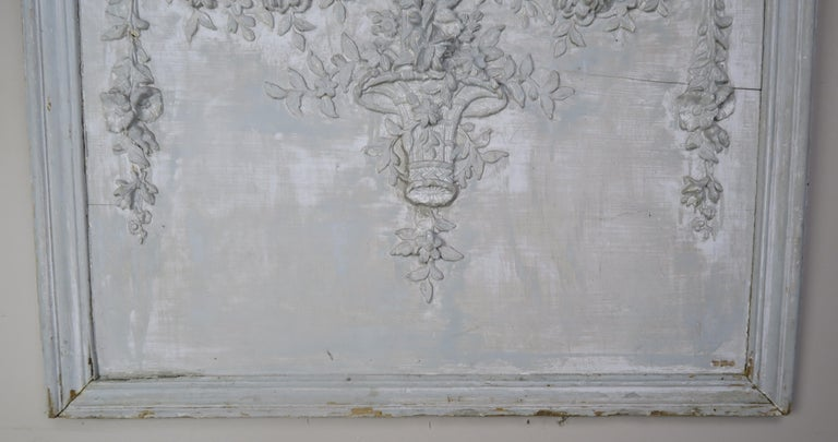Rococo 19th Century Painted Carved Wood Panel with Urn of Flowers For Sale