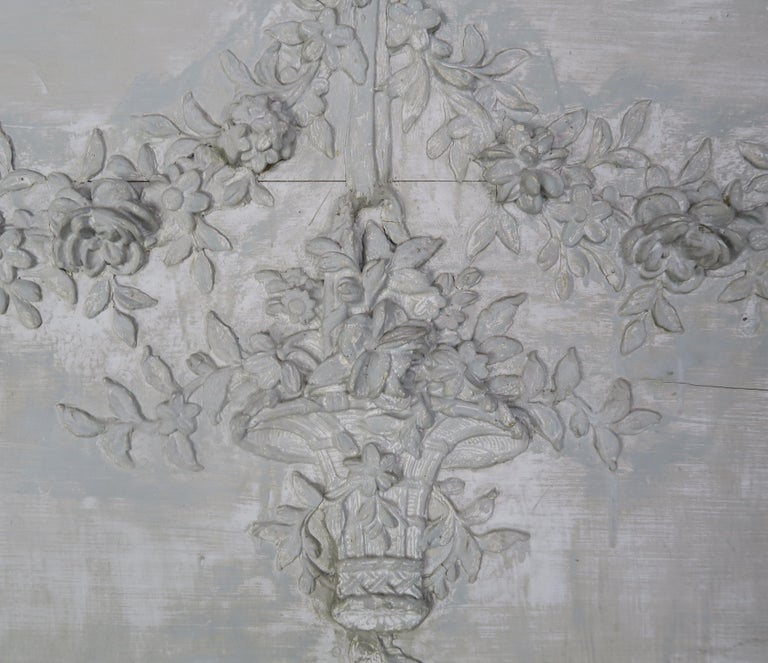 French 19th Century Painted Carved Wood Panel with Urn of Flowers For Sale