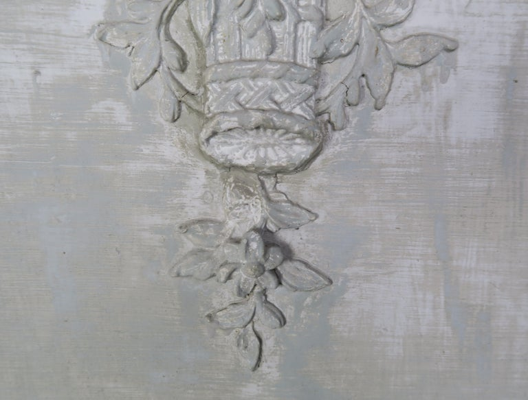 Hand-Painted 19th Century Painted Carved Wood Panel with Urn of Flowers For Sale