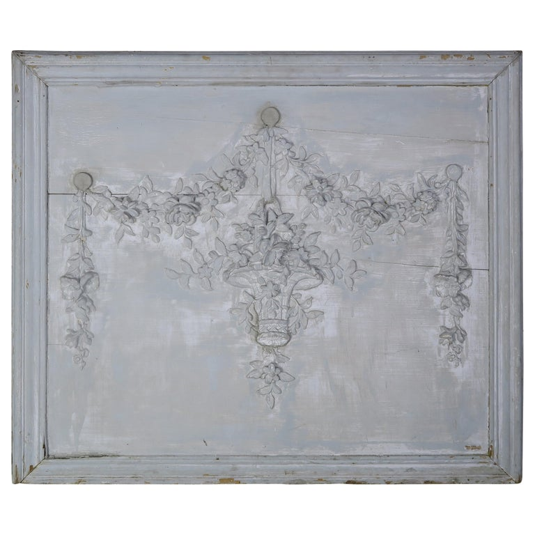 19th Century Painted Carved Wood Panel with Urn of Flowers For Sale