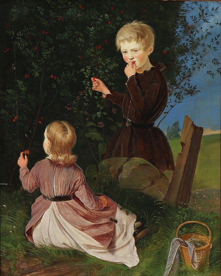 Charming unsigned 19th century painting of two small children picking berries. Oil on canvas. Measures: 16.5