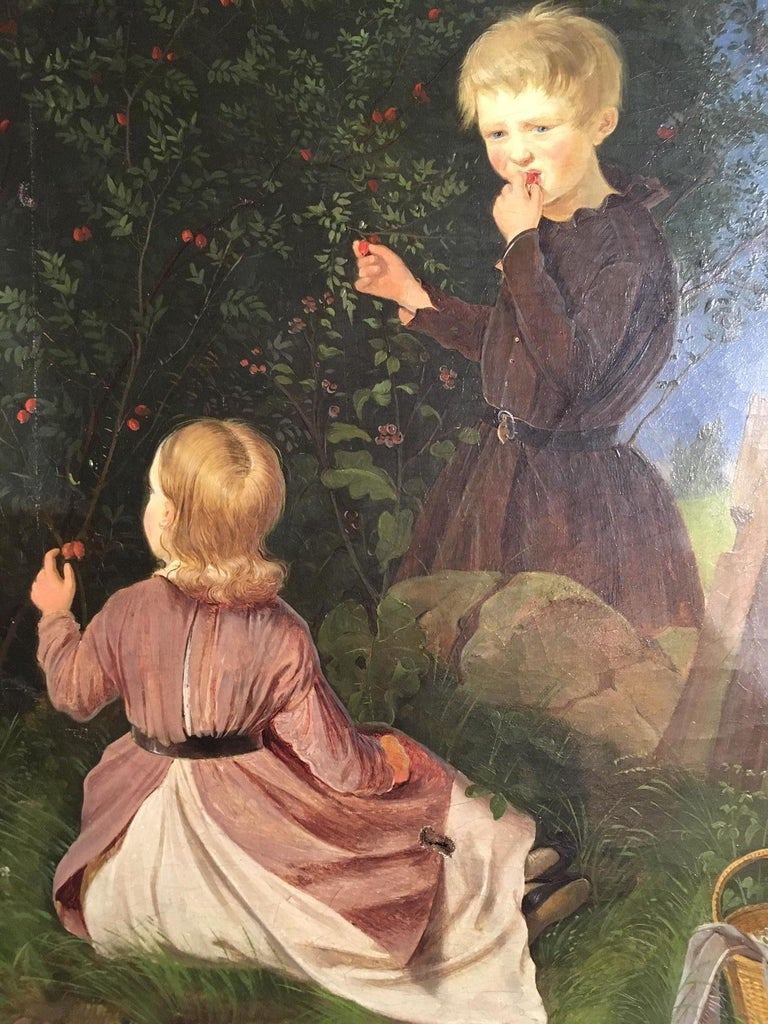 Romantic 19th Century Painting of Two Children Picking Berries For Sale