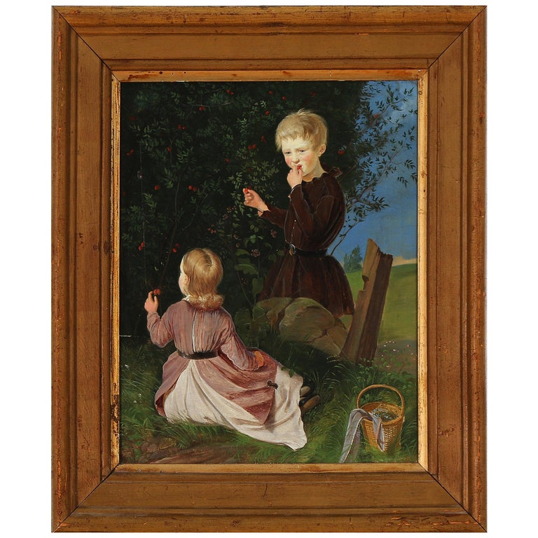 19th Century Painting of Two Children Picking Berries For Sale