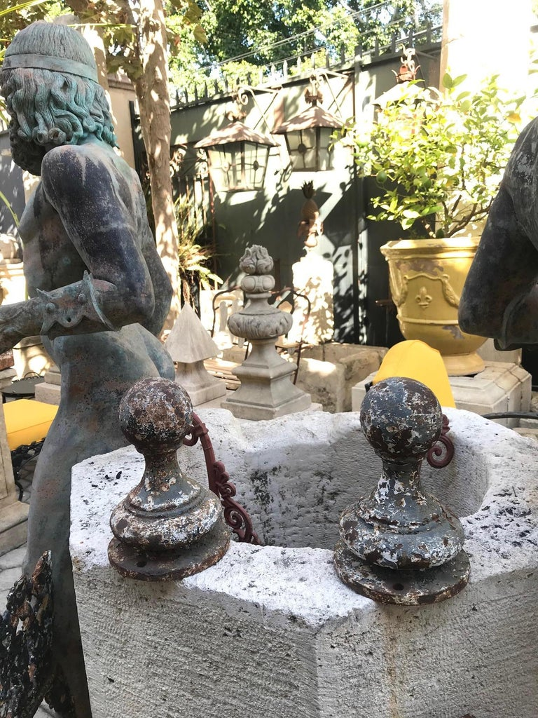 A beautiful 19th century cast metal garden finials, to mount on garden posts flanking each side of a gate or simply using them as beautiful decorative elements in an interior. Los Angeles CA antiques dealer Beverly Hills West Hollywood. The nicely