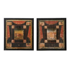 19th C. Pair of French Artisan Paintings on Wood Boards