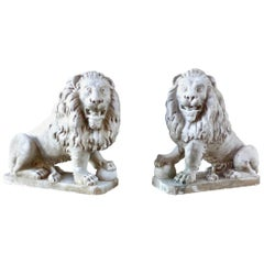 19th c Pair of Italian Hand-Carved Solid Marble Lions from Venice