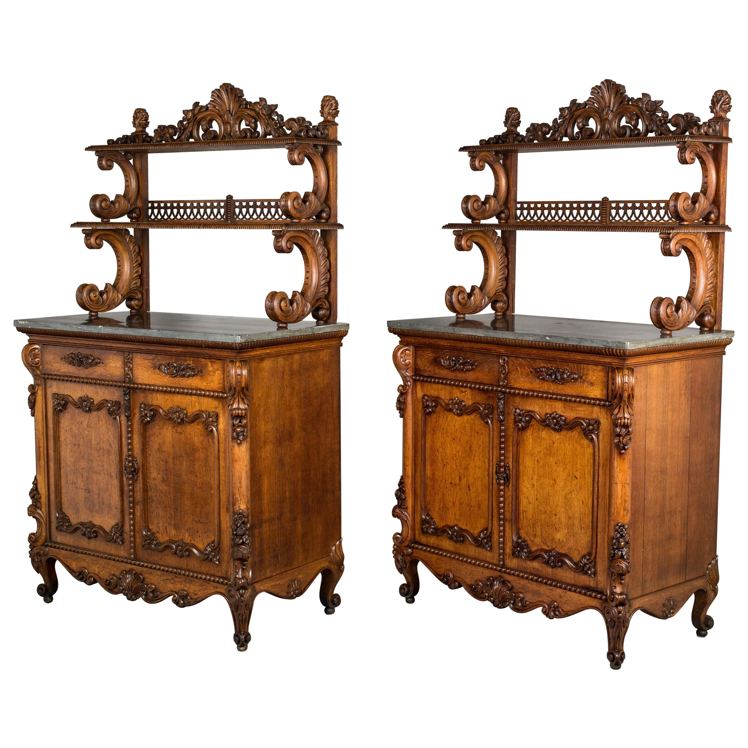 19th Century Pair of Louis XV Style Buffets or Sideboards