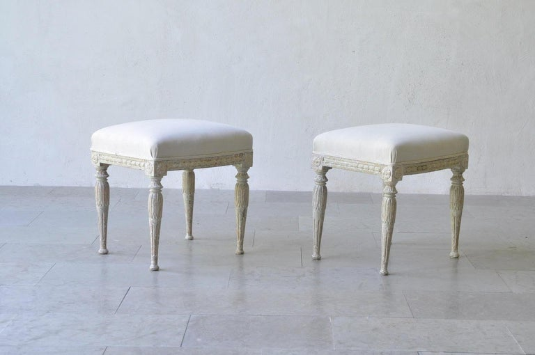 19th Century Pair of Swedish Gustavian Period Stool in Original Paint In Excellent Condition For Sale In Wichita, KS