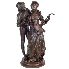 Patinated Bronze Sculpture of Two Lovers by Vincent Faure de Brousse