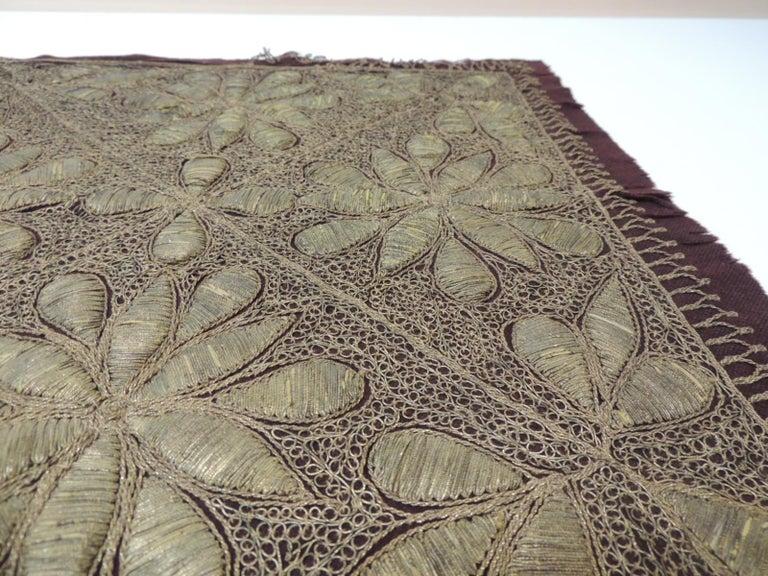 Moorish 19th Century Persian Ottoman Empire Gold Metallic Threads Embroidered Textile For Sale