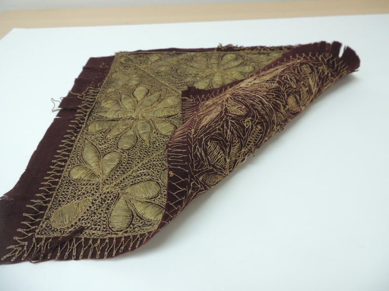 Armenian 19th Century Persian Ottoman Empire Gold Metallic Threads Embroidered Textile For Sale