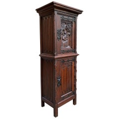 19th Century Petite French Carved Oak Gothic Vestment Cabinet Prayer Room