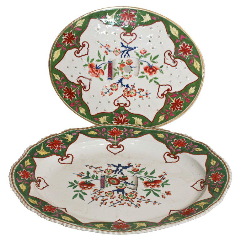 "19th C. Porcelain Meat Platter W/  Matching Drainer ""Chinoiserie For Sale"