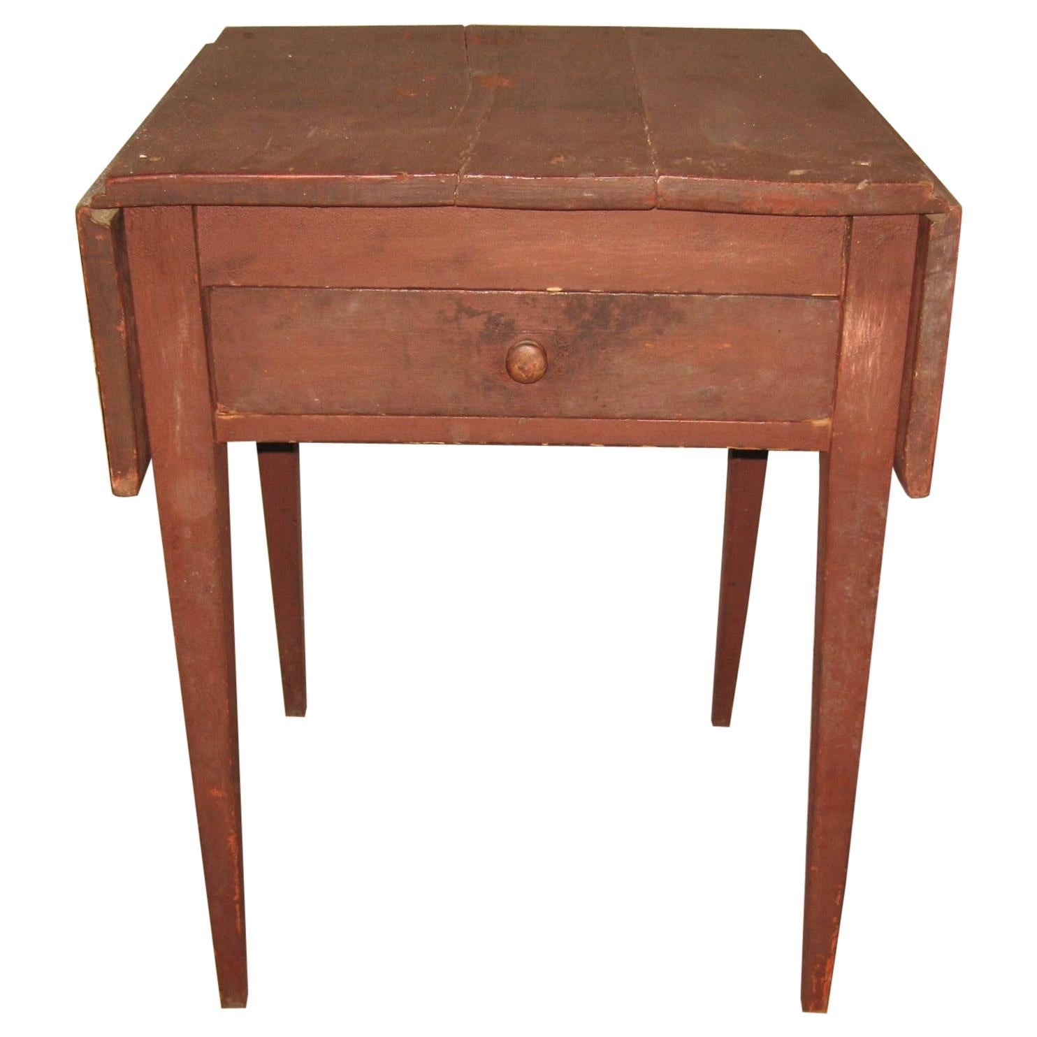 19th Century Primitive Tapered Leg 1-Drawer Stand Old Red Paint