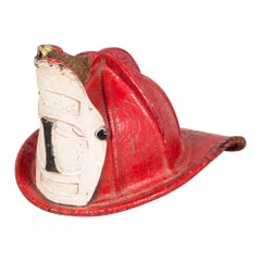 19th Century Red Leather Fireman's Helmet with High Eagle, circa 1800s