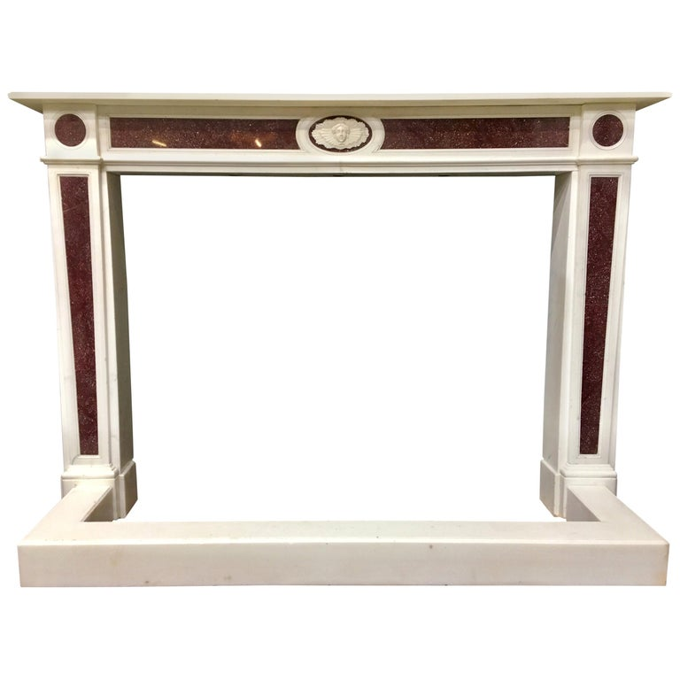 Regency Imperial Egyptian Porphyry and Statuary Marble Fireplace Surround For Sale