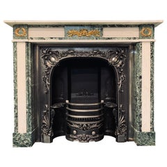 19th C Regency Style Verde Tinos Marble Fireplace Surround with Ormolu Mounts