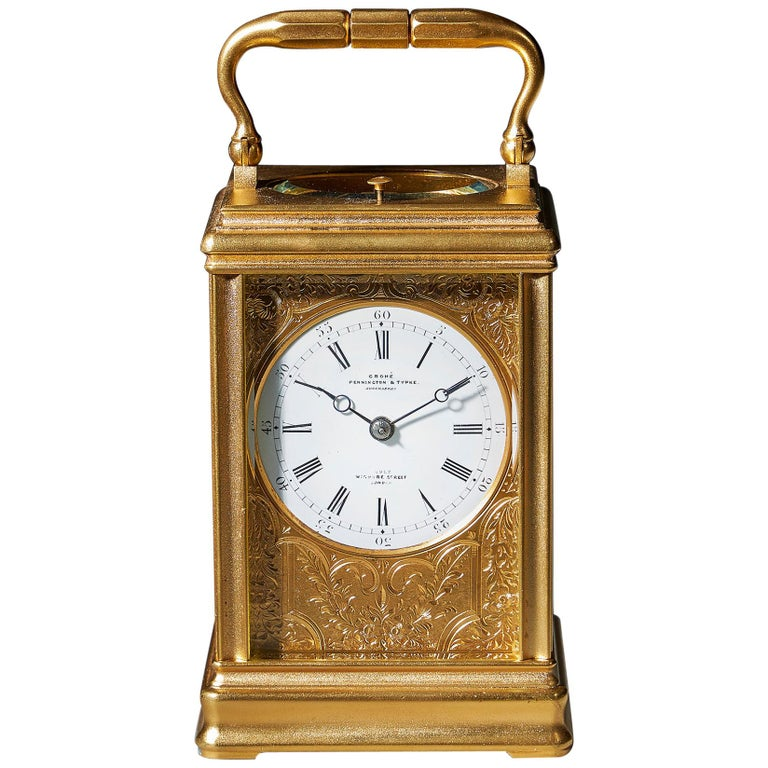 19th Century Repeating Gilt-Brass Carriage Clock by the Famous Drocourt For Sale