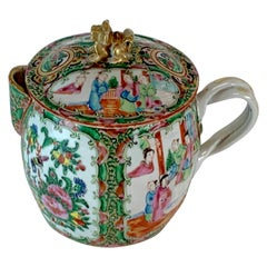 19th Century Rose Medallion Cider Pitcher with Foo Dog Finial