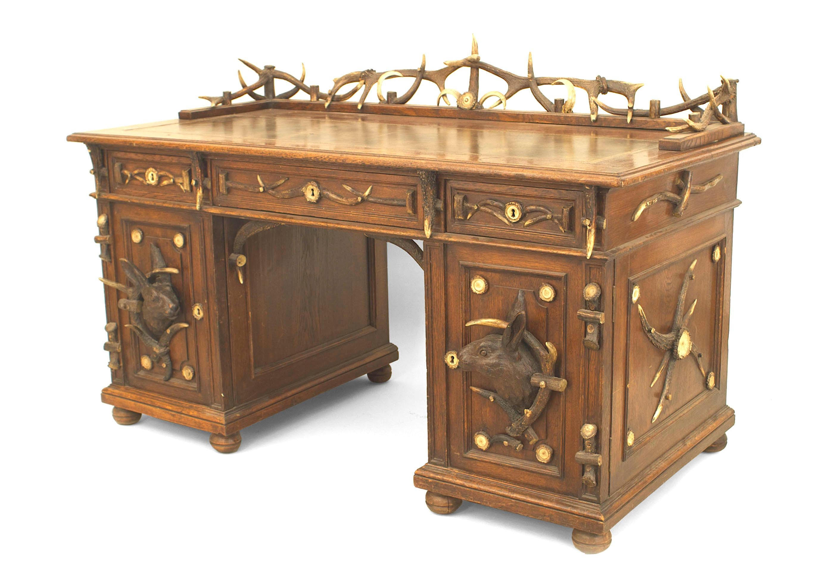 44th c. Rustic German Horn and Carved Oak Desk