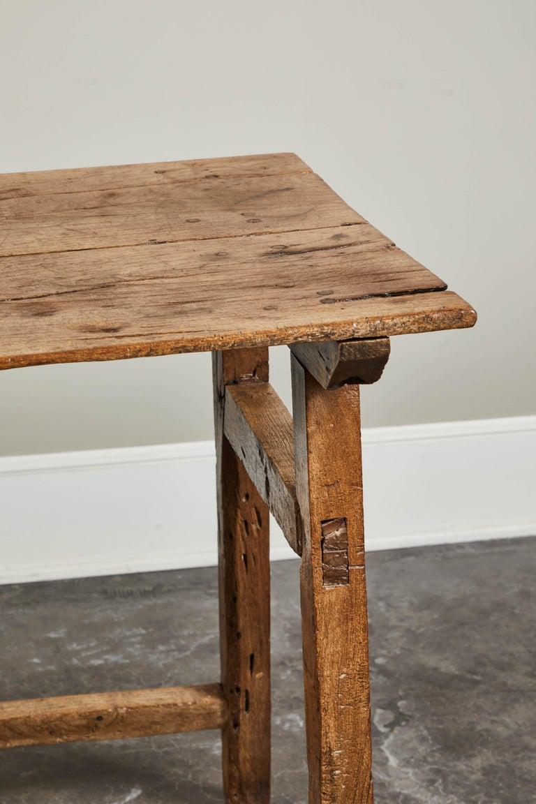 19th Century Rustic Spanish Side Table In Distressed Condition For Sale In South Pasadena, CA