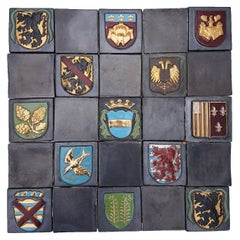 19th Century Set of 25 Authentic Ceramic Relief Fire Place Tiles, France
