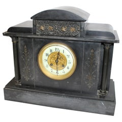 19th Century Slate Marble Temple Mantle Clock