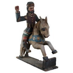 South American Primitive Folk Art Polychrome Santos Figure on Wood Horse