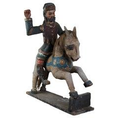 South American Primitive Folk Art Polychrome Santos Figure on Wood Horse