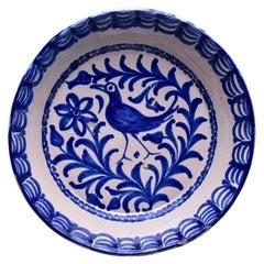 19th C Spanish Blue White Fajalauza Glazed Terra Cotta Bowl with Long Beaked Bir