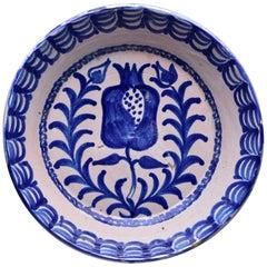 19th C Spanish Blue White Fajalauza Glazed Terra Cotta Bowl with Pomegranate