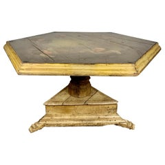 19th Century Spanish Center Table with Painted Cherubs
