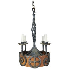 19th Century Spanish Gothic Iron Painted Chandelier
