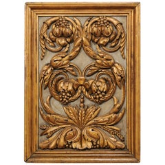 Spanish Hand Carved and Giltwood Wall Plaque in a Grapes and Foliate Motif