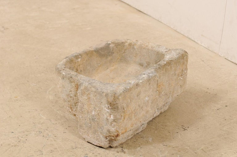 19th Century Spanish Hand Carved Limestone Sink or Fountain Basin 6