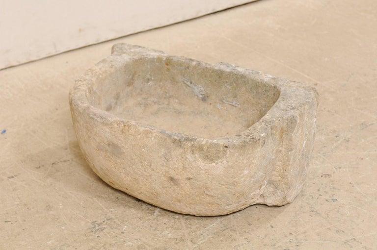 19th Century Spanish Hand Carved Limestone Sink or Fountain Basin 7