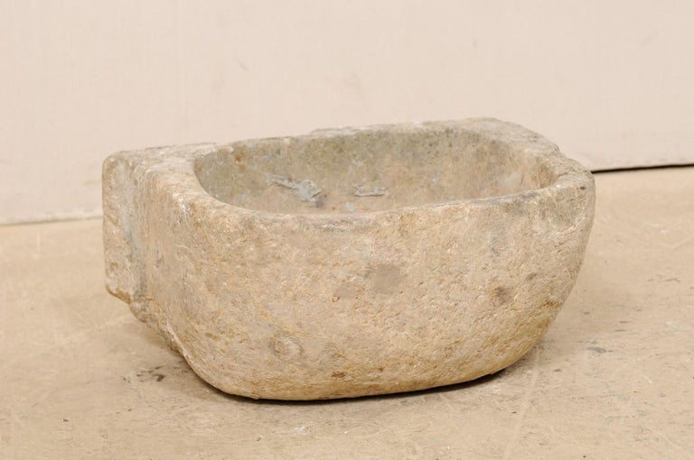 Hand-Carved 19th Century Spanish Hand Carved Limestone Sink or Fountain Basin
