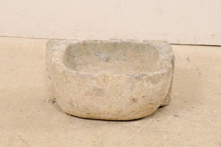 19th Century Spanish Hand Carved Limestone Sink or Fountain Basin In Good Condition In Atlanta, GA
