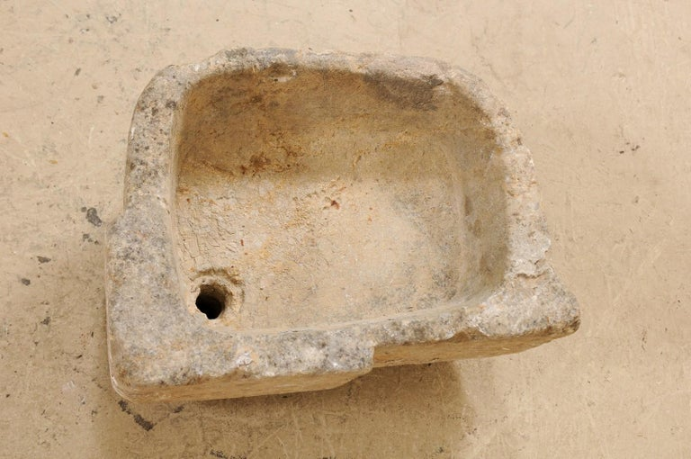 19th Century Spanish Hand Carved Limestone Sink or Fountain Basin 1