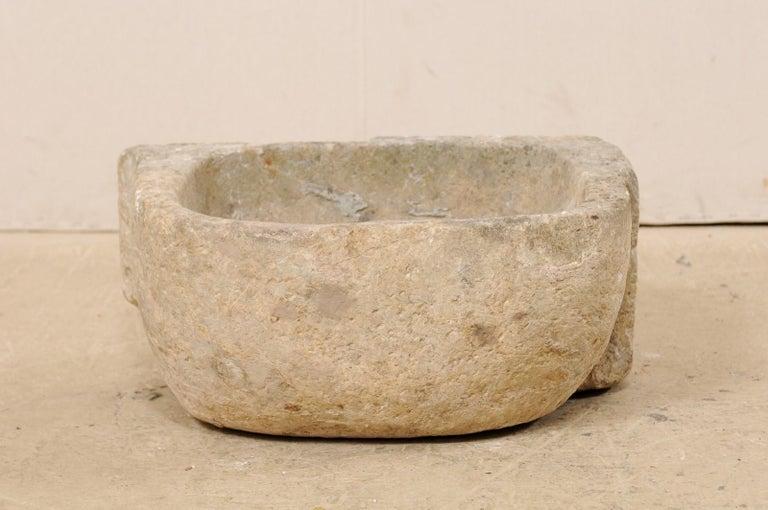 19th Century Spanish Hand Carved Limestone Sink or Fountain Basin 2