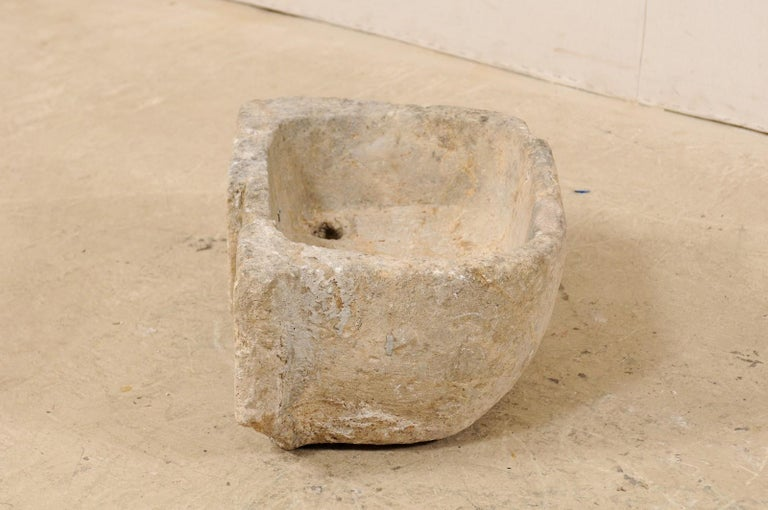 19th Century Spanish Hand Carved Limestone Sink or Fountain Basin 3