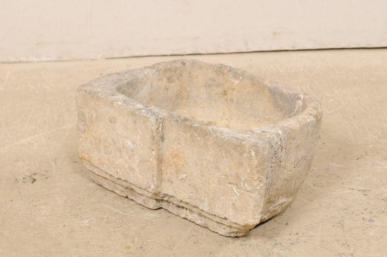 19th Century Spanish Hand Carved Limestone Sink or Fountain Basin 4