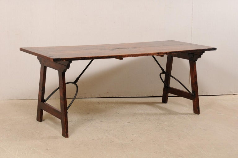 Spanish Table with Legs Uniquely Designed to be Folded for Easy Storage In Good Condition For Sale In Atlanta, GA