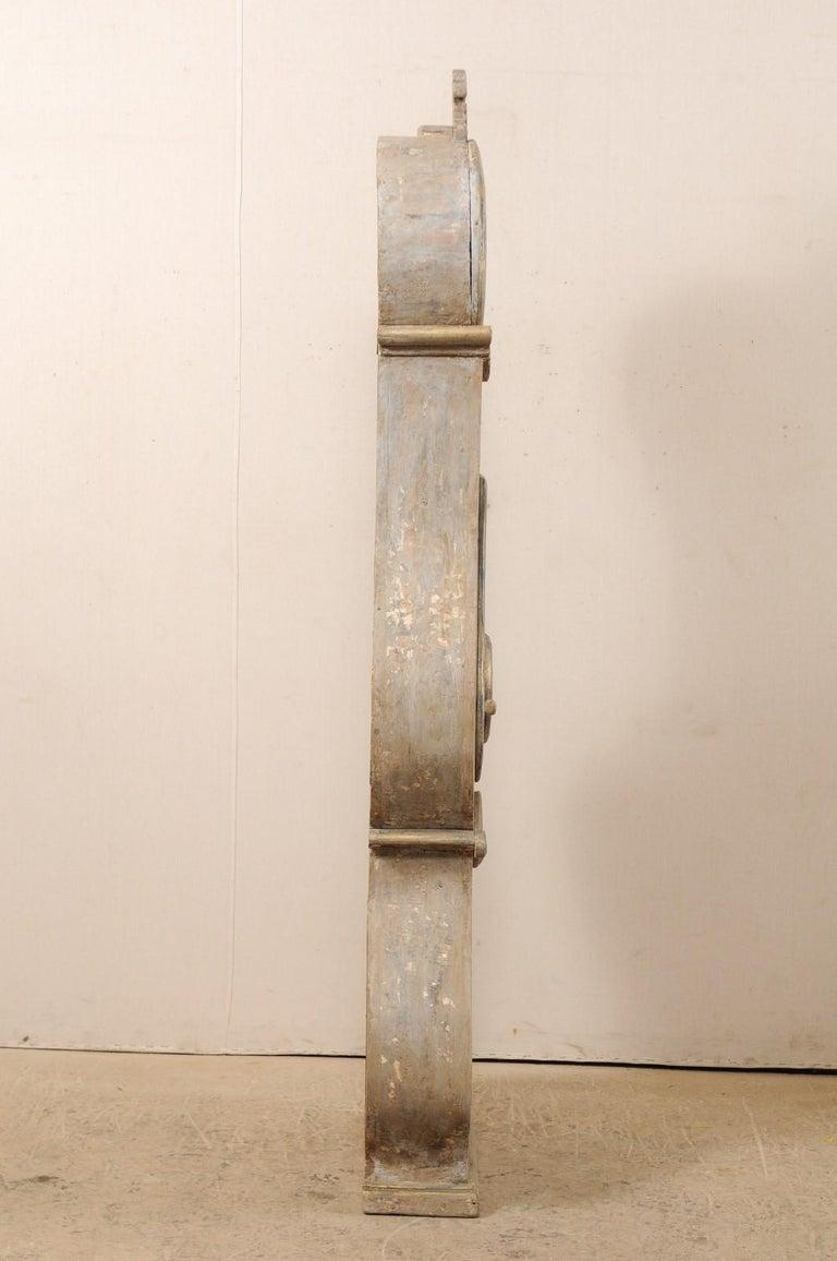 Wood 19th Century Swedish Fryksdahl Floor Clock w/ Beautiful, Curvaceous Body For Sale