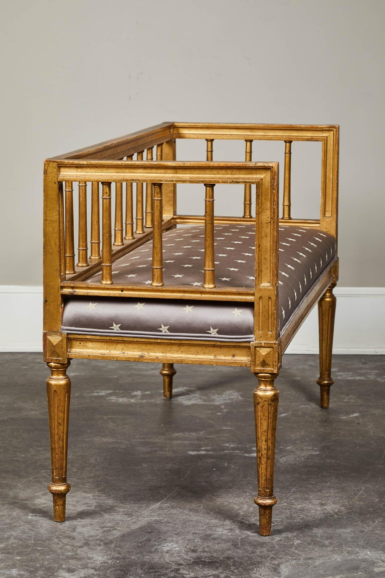 19th Century Swedish Gilded Gustavian Style Bench For Sale 2