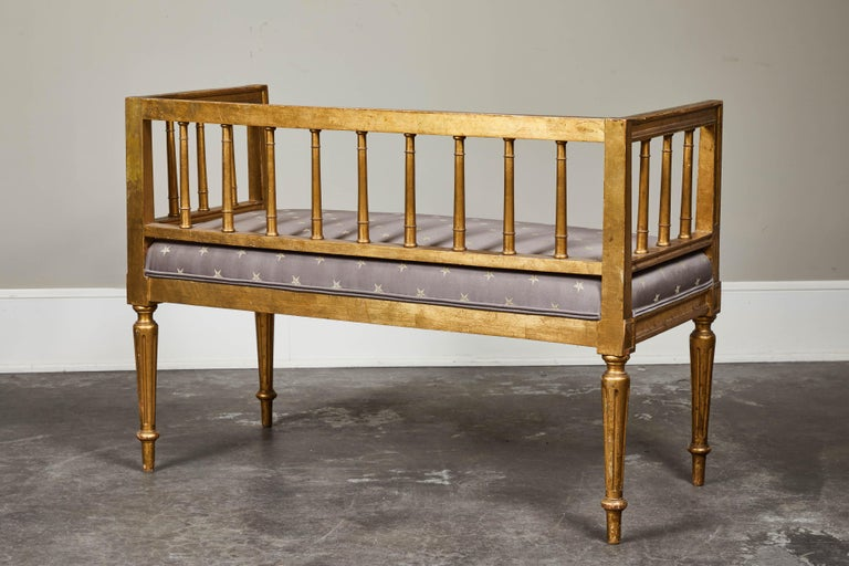 19th Century Swedish Gilded Gustavian Style Bench For Sale 3