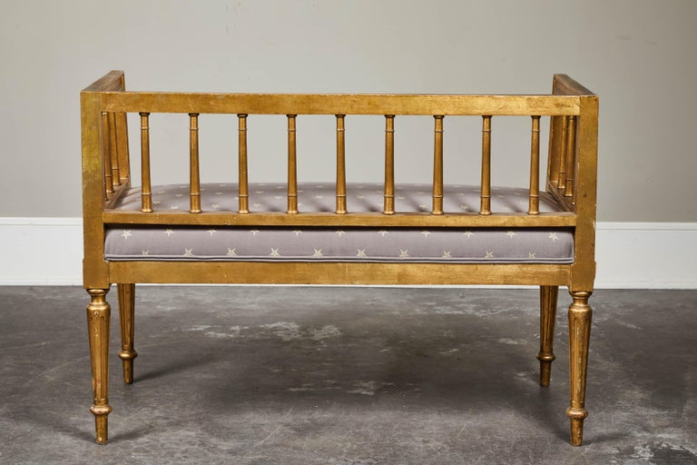19th Century Swedish Gilded Gustavian Style Bench For Sale 4